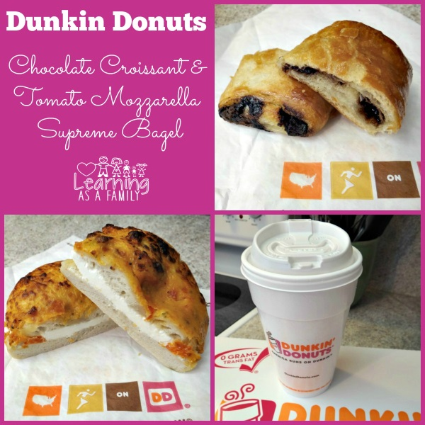 Dunkin Donuts Chocolate Croissant and Tomato Mozzarella Supreme Bagel