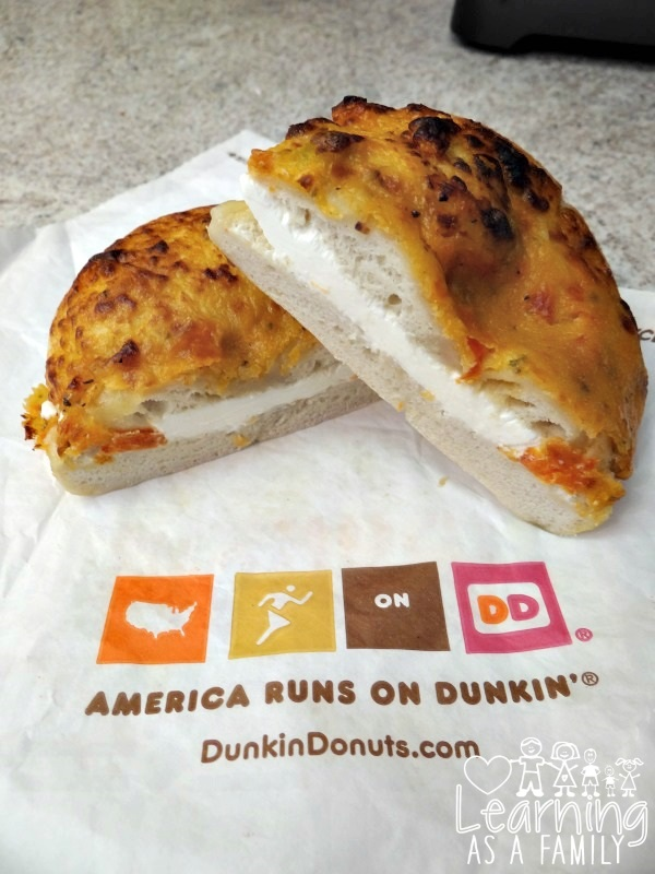 Dunkin Donuts Tomato Mozzarella Supreme Bagel with Cream Cheese