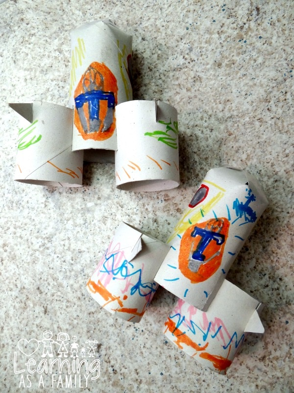 Decorated Toilet Paper Roll Rockets with Tomorrowland