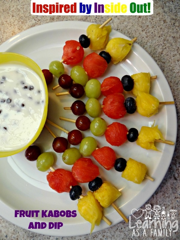 Inside Out Inspired Fruit Kabobs with Fruit Dip