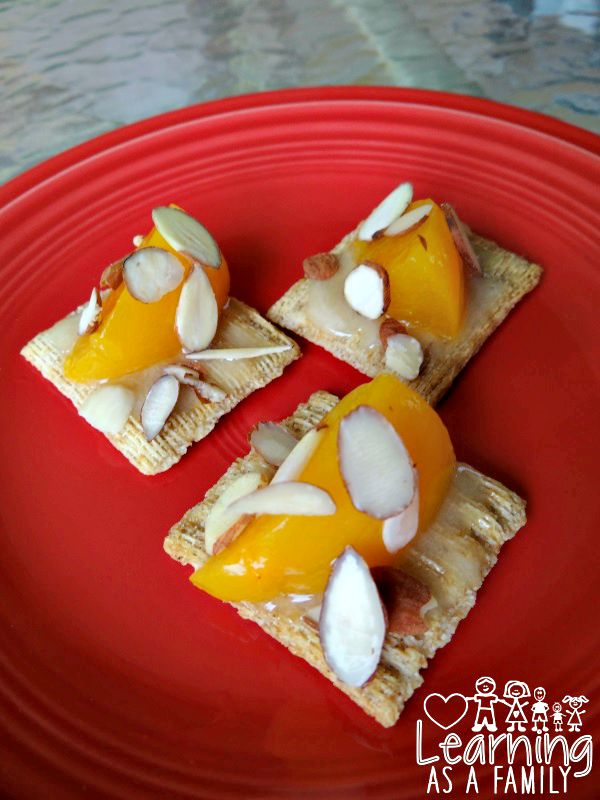 Triscuits with Peaches, Almonds, and  Passionfruit Honey
