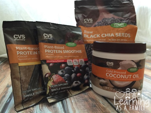 CVS brand Raw Chia Seeds, CVS Cold Pressed Coconut Oil, and CVS Plant Based Protein Smoothie Powders