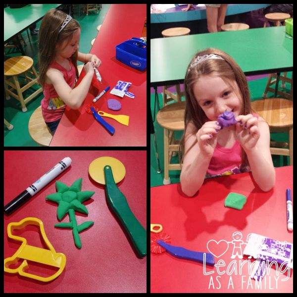 Making a creation at Modeling Madness at the Crayola Experience