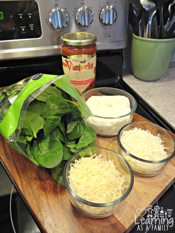 Ingredients for Spinach and 3 Cheese Lasagna Rolls