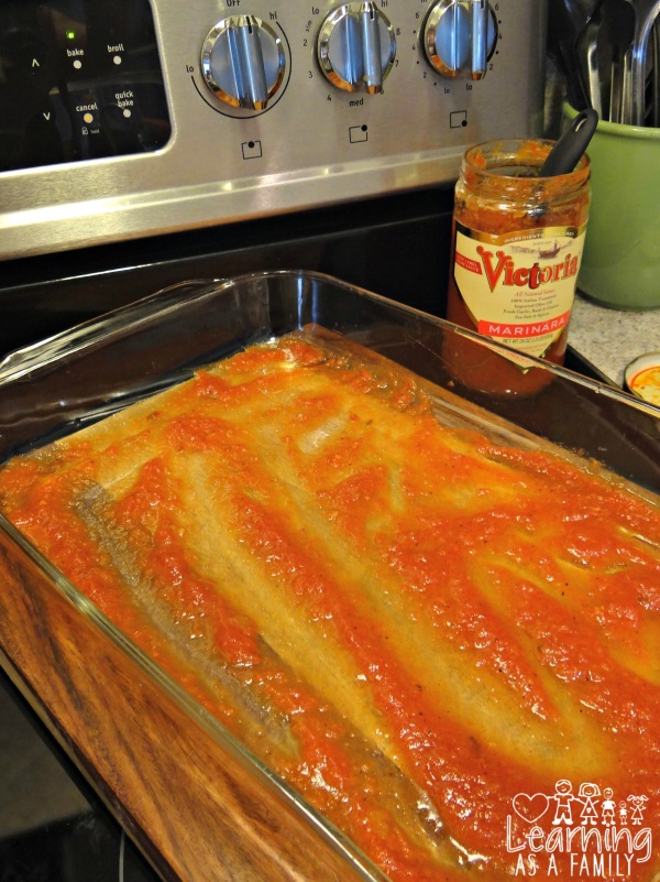 Sauce in the pan for Spinach and 3 Cheese Lasagna Rolls