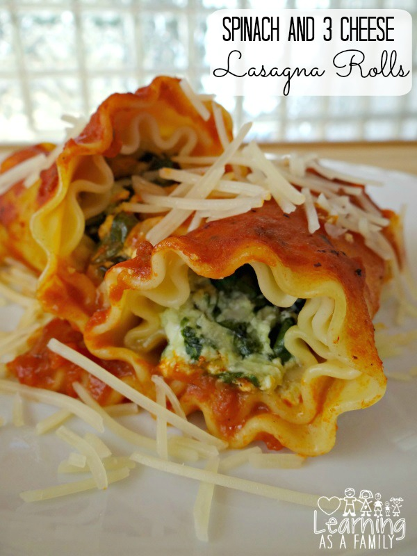 Spinach and 3 Cheese Lasagna Rolls