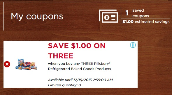 Winn Dixie Digital Coupon for Pillsbury