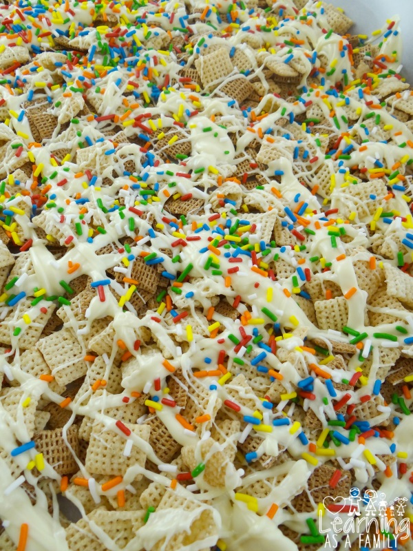 White Chocolate Chex Party Mix Topping