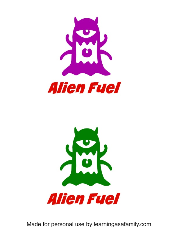 Alien Fuel Printable for Outer Space Theme Lunch