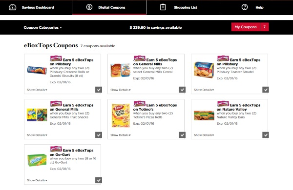 Selected e box tops offers at Winn Dixie