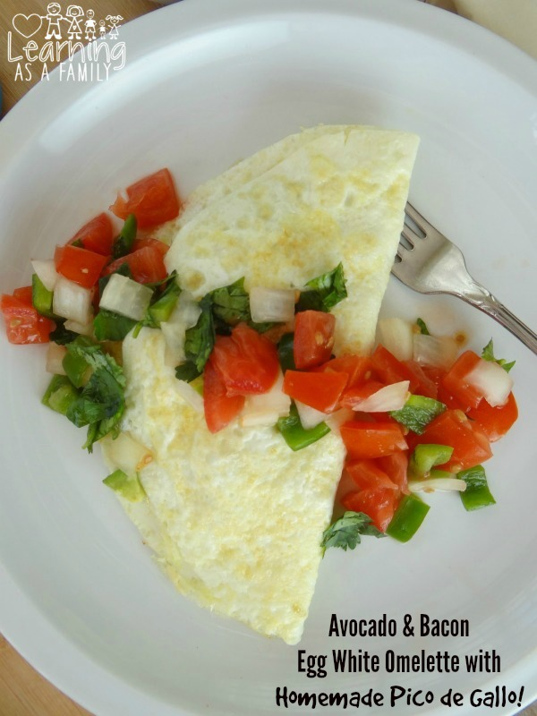 Avocado Bacon Egg White Omelette with Homemade Pico de Gallo
