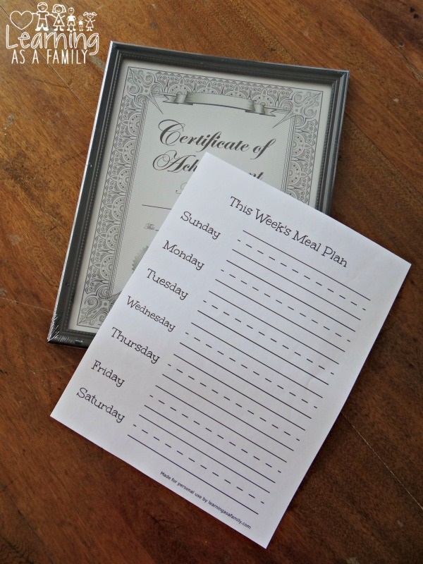 Erasable Weekly Meal Planning Frame With Printable